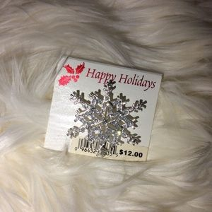 Jewelry - Happy Holiday Snowflake Pin Sweater Crystal Brooch